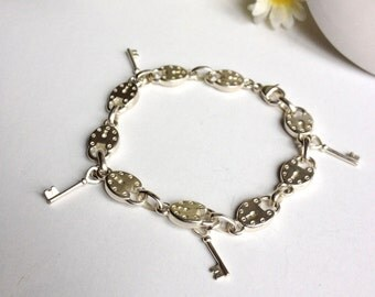 Bracelet key and lock silver plated, but new vintage