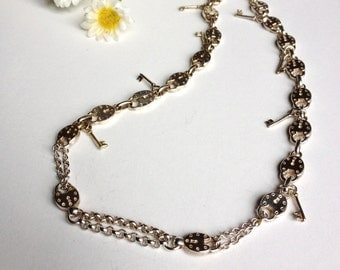 Keys necklace and silver plated padlock, but new vintage