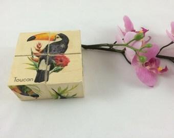 Rainforest birds block puzzle, wooden block puzzle