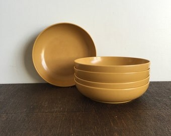 Harvest Gold Melamine Bowl and Plate Set
