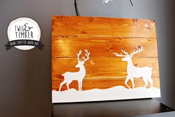 Reindeer on Snow, Christmas Wood Sign - CUSTOM COLOR CHOICE - Pick Your Stain!