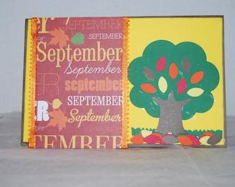Handmade September/Fall Greeting Card- Blank Inside