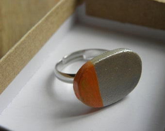 Orange andsilver handmade ring in a a-symmetric design - gorgeous gift!