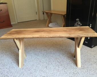 Wood Slab Bench Etsy