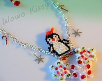 Swinging Penguin Santa Necklace