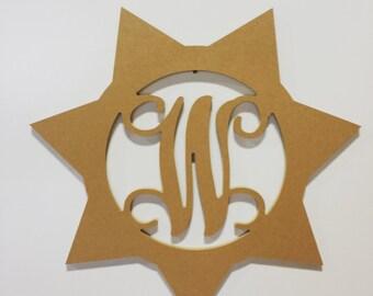 MDF Unfinished Wood Sheriff Monogram, Shield, Badge, Door Hanger,Wall Decor