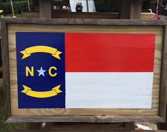 "Reclaimed Lumber Sign ""NC Flag"""