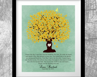 Mother of Groom Gift From Bride I Knew The Day Oak Family Tree Wedding Poem Thank You Art Print Choose Paper, Canvas or Tin Sign #1104