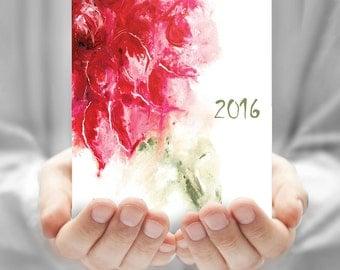 Calendar, Flower calendar, Calendar watercolor, Desk calendar, CD calendar, printable monthly calendar, Painting, DIY, Instant download