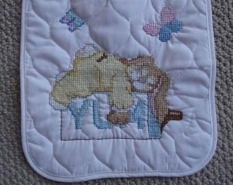 Cross Stitch baby bib, YUM/sleeping bunny