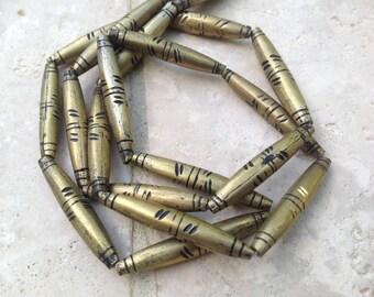 37mmx4mm - African Trade Brass Tuareg Beads