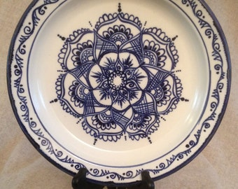 Blue and White Platter with Mehndi inspired designs