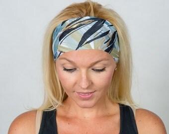 Fitness Headband Yoga Headband Shiny Running Headband Workout Headband  Boho Headband Fashion Headband Women Head Wrap Gray-Gold Headband