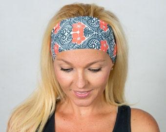 Yoga Headband Running Headband Gray and Red Workout Headband Fitness Headband Boho Headband Fashion Headband Women Head Wrap Turban Headband