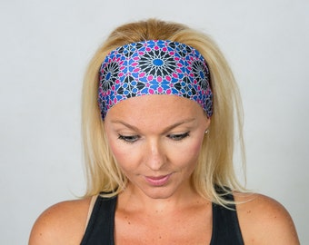 Yoga Headband Running Headband Blue Boho Headband Workout Headband Fitness Headband Fashion Headband Women Head Wrap Wide Headband