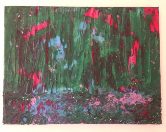 Abstract painting. Green, blue, red texture.