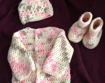 newborn sweater, hat and booties set