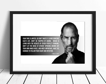 Steve Jobs, Quote poster, Typographic print, Inpirational Genius Quote, Sizes A4-A0