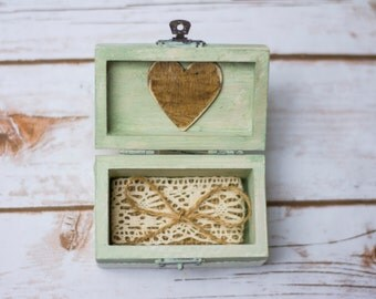 MInt Ring Box Wedding Ring Bearer Rustic Personalized Ring Pillow Holder Shabby CHic
