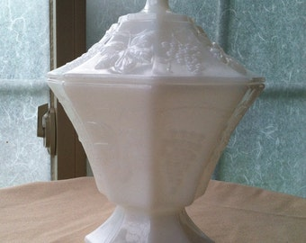 Vintage Anchor Hocking Milk Glass Grapes Covered Candy Dish