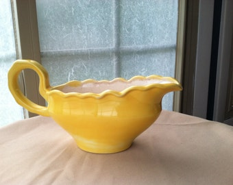 Vintage Bright Yellow Hand Painted Ceramic Gravy Boat