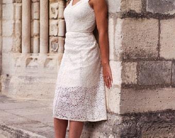 Robe unique vintage en dentelle couleur écrue / Fait main / Coutures soignées/ Très chic et glamour