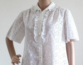 Openwork woman vintage cotton blouse / size 36