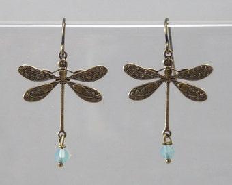 Dragonfly Earrings Dangle Earrings Gift Jewelry Gold Earrings Mothers Day Gift Bridesmaid Gift Jewelry Wedding VanBeekJewelry
