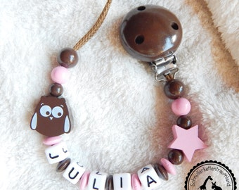 Dummy named - OWL/star in pink/Brown - many subjects - individual design -.