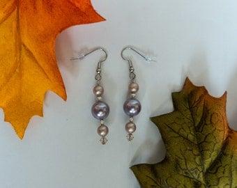 "Swarovski ""pearl"" and silver color dangle earrings"
