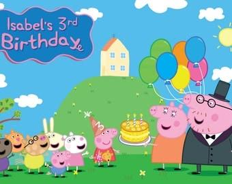 Peppa Pig Birthday Personalized Printable Backdrop
