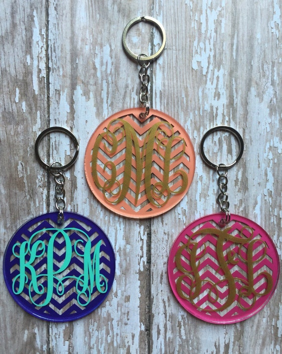 Chevron Monogram Keychain/ Keychain Gift Tags/ Monogrammed Gifts