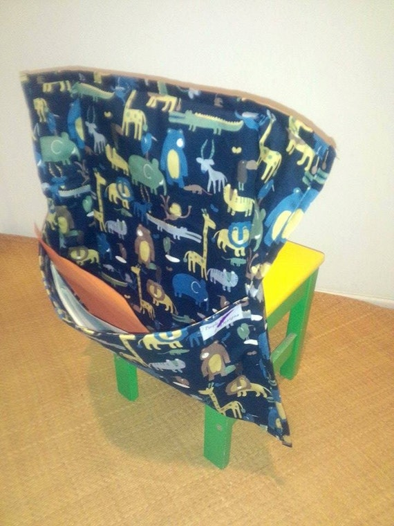 Study Chair Bag - blue with animals