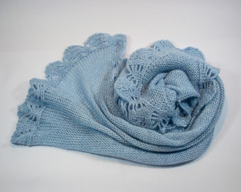 Blue Wool Mohair Scarf with crochet detailing