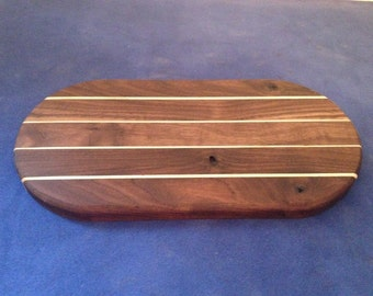 Solid Walnut and Sycamore Oval Cheeseboard / Serving Platter / Chopping Board
