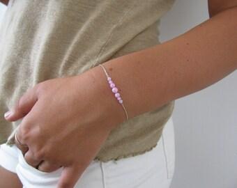 Opal bracelet, opal ball bracelet, opal silver bracelet, opal jewelry, tiny bracelet, opal bead bracelet, pink opal bracelet, d