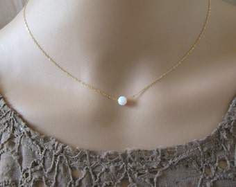 Opal gold necklace, opal ball necklace, delicate necklace, opal jewelry, tiny dot necklace, opal bead necklace, dot necklace, white opal