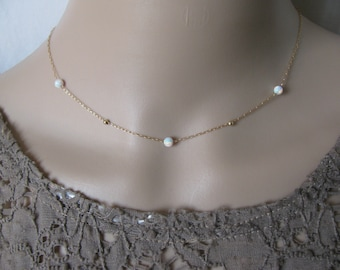 Opal gold necklace, opal ball necklace, delicate necklace, opal jewelry, tiny dot necklace, opal bead necklace, dot necklace, w