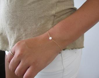 Opal bracelet, opal ball bracelet, opal gold bracelet, opal jewelry, tiny bracelet, opal bead bracelet, white opal bracelet, do