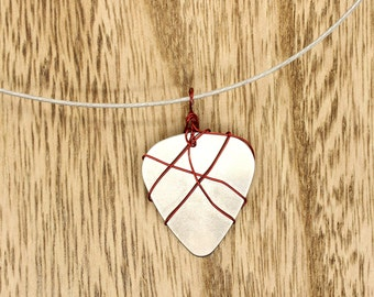 Red Wire Wrapped Stainless Steel Guitar Pick On Stainless Steel Necklace Pendant