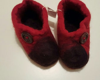 Red Felted Slippers