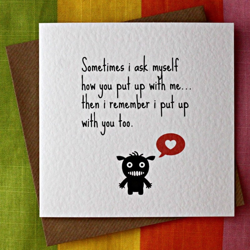 Put Up With MeFunny Love Card Funny Friendship CardFunny – Funny Valentine Cards for Friends