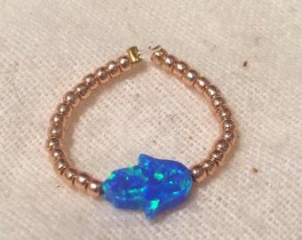 Opal Hamsa Elastic Beaded Ring