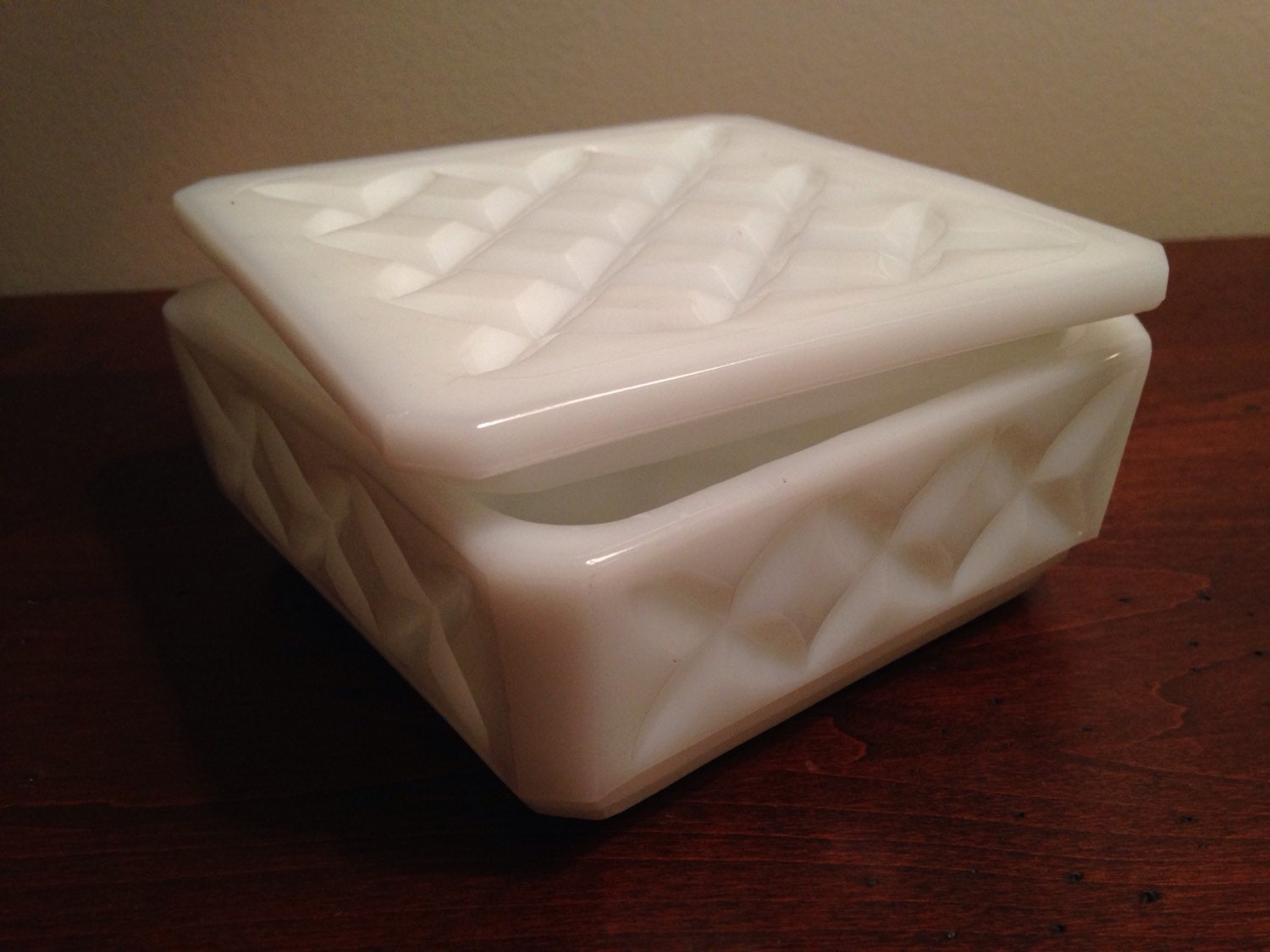Milk Glass Trinket Box Square White Jewelry Box With Lid