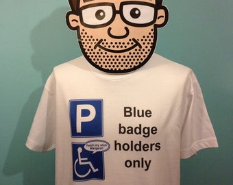 Half Man Half Biscuit Funny Music T-Shirt (Blue Badge Abuser) - White Shirt