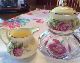 Vintage Staffordshire Crown China Cream & Sugar Set