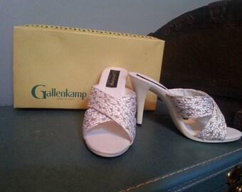 Vintage 1950s Gallenkamp Heels in Box Classic White Heels Mid Century