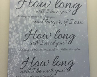 How Long Will I Love You Song Lyric Canvas