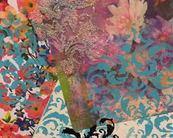 Mixed Media Floral & Damask Collage