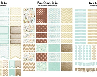 Printable Brown and Blue Kit for Plum Paper Planner